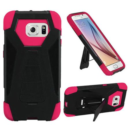 UPC 889231876123 product image for Insten Hard Dual Layer Plastic Silicone Case w/stand For Samsung Galaxy S6 - Bla | upcitemdb.com
