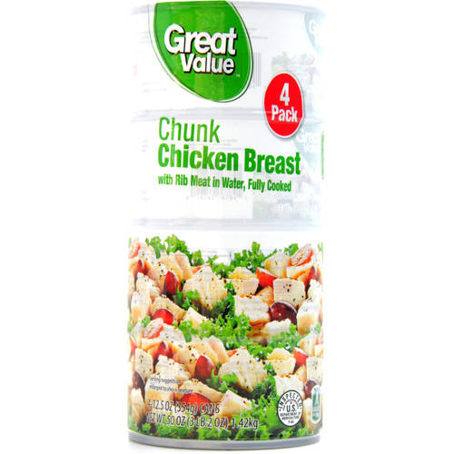 Great Value Chunk Chicken Breast, 12.5 oz, 4 pack