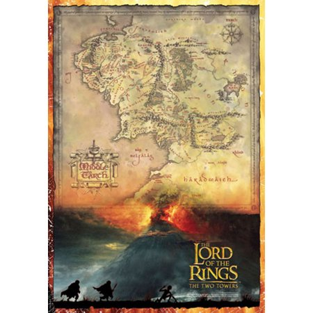 The Lord Of The Rings - Movie Poster / Print (Map Of Middle Earth ...