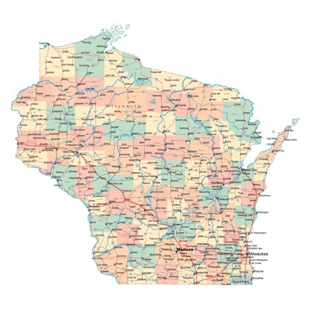 Wisconsin Fishing Maps - Laminated Map - Large administrative map of Wisconsin state with roads, highways and cities Poster 24 x 36