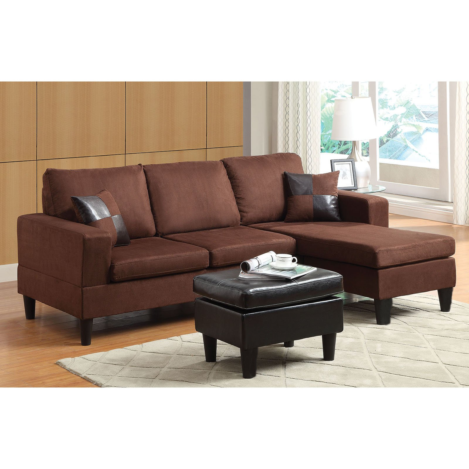 ACME Robyn Reversible Sectional Sofa with Ottoman & 2 Pillows, Chocolate Microfiber & Espresso PU by Acme Furniture