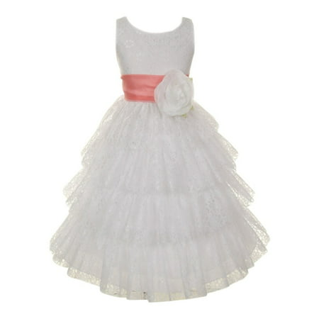 Little Girls White Coral Lace Floral Adorned Layered Flower Girl Dress 2T - Cinco De Mayo Dresses Sale