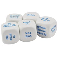 Set of 5 Educational Math Logic Word White 19mm Dice in Snow Organza Bag