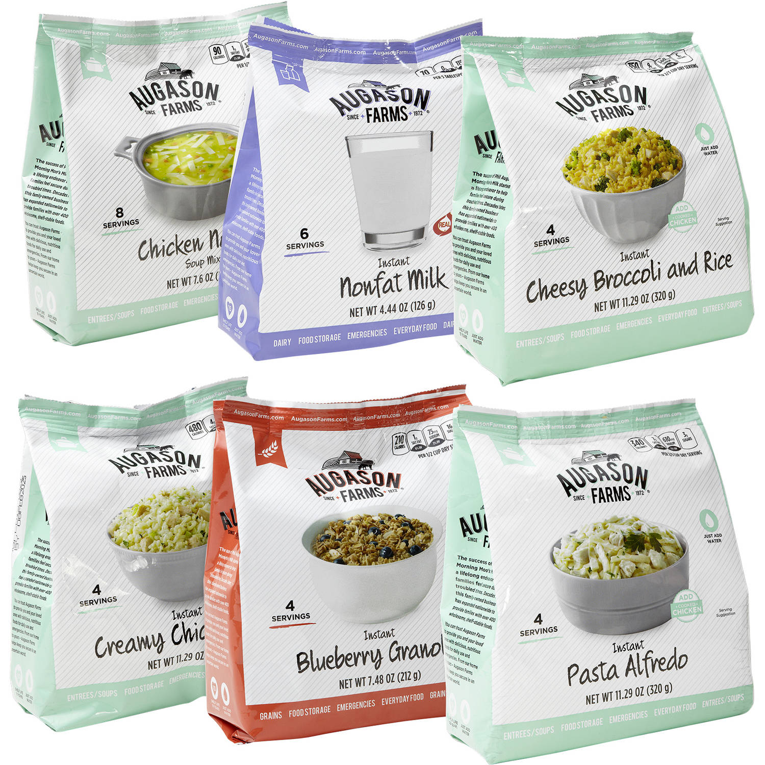 Augason Farms Emergency Food Storage Favorites Variety Pantry Packs, 6 pc