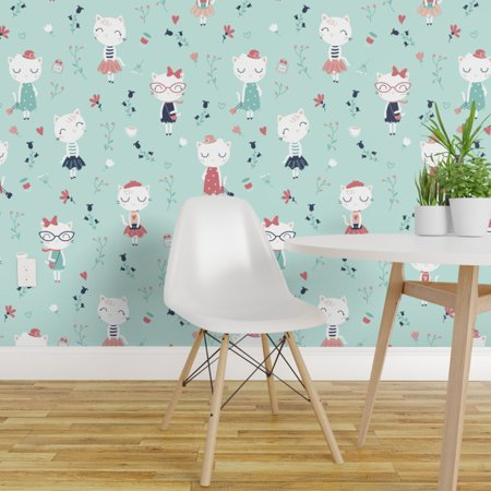Peel and Stick Removable Wallpaper Cute French Cats Chic Girls Mint Fl