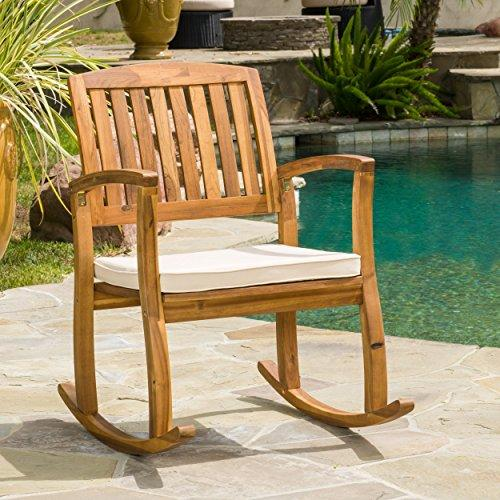 Sadie Acacia Rocking Chair with Cushion, Teak Finish by GDF Studio