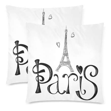 YKCG 2 Pack Hand Drawn Eiffel Tower with Paris Pillowcase 18x18 Cushion Case Cover Twin Sides, White Zippered Throw Pillow Case Cover Decorative for Couch Bed ()