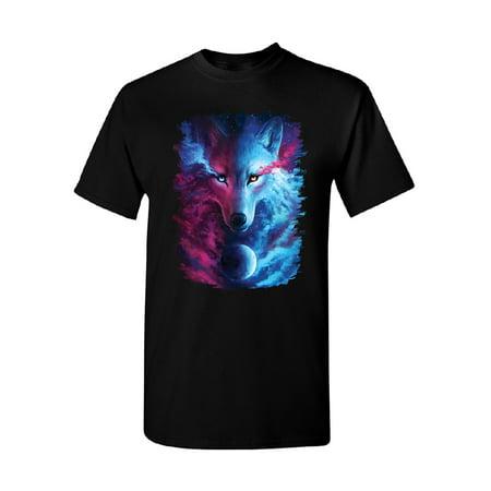 Light and Dark Wolf Men's T-shirt Where Dark and Light Meet Tee - Mens Wolf Onesie