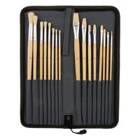 US Art Supply 16pc Long Handle Bristle Hair Artist Paint Brush Set w/ Carry Case