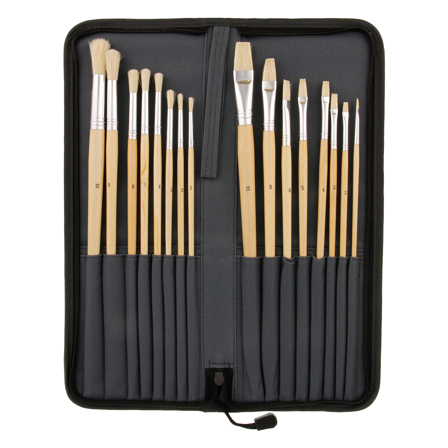 US Art Supply 16pc Long Handle Bristle Hair Artist Paint Brush Set w/ Carry Case