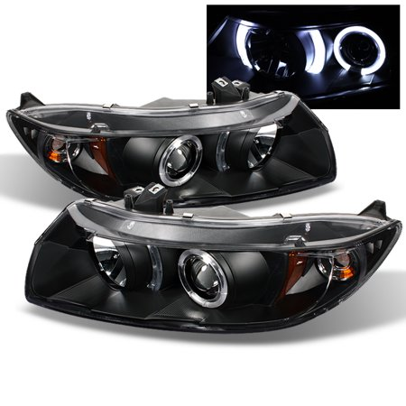 Fits 06-11 Honda Civic 2Dr Coupe Black Bezel Dual Halo Projector Headlights Lamp Civic Projector Headlights Black Housing