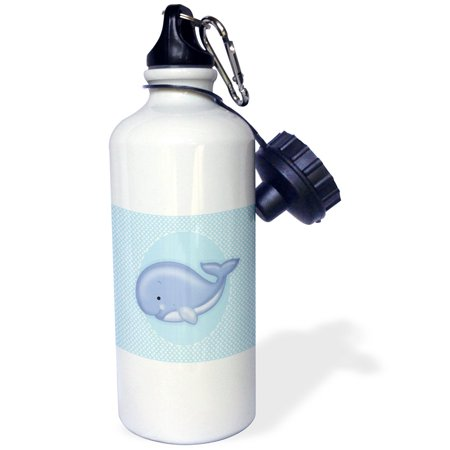 3dRose Cute Baby Blue Whale on White and Blue Polkadot Background, Sports Water Bottle,