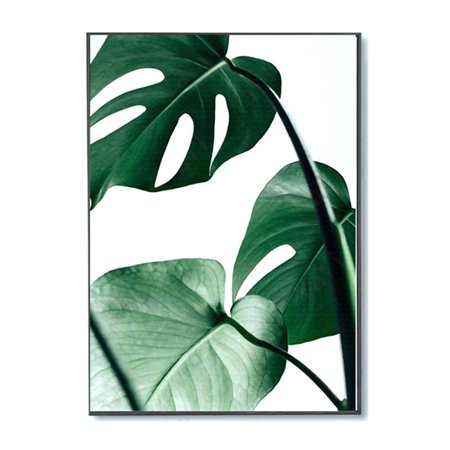 Dark Painting (Meigar Nordic Green Plant Leaf Canvas Painting Wall Art Print Picture for Living Room, Black And White,)