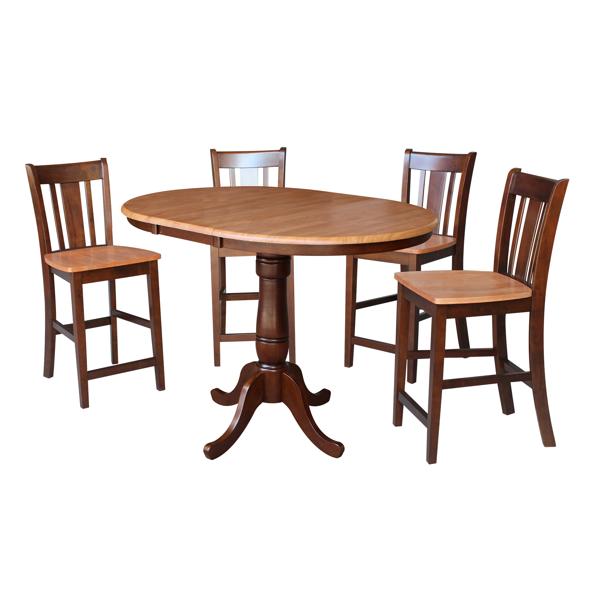 "36"" Round Counter Height Table with 12"" Leaf and 4 San Remo Stools – Cinnamon/Espresso - 5 Piece Set"