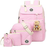 4Pcs Polka Dot Women Canvas Daypack Casual School Bag for Girls Middle High School Backpack Set with Lunch Bag,Black