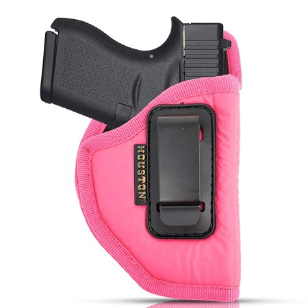IWB Woman Pink Gun Holster - Houston - ECO LEATHER Concealed Carry Soft | Suede Interior for Maximum Protection Fits: GLOCK 43 & 42, KAHR PM 45,MAKAROV.KELTEC PF9/P11 (right)