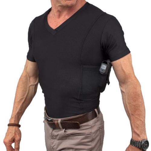 Undertech Undercover V-Neck Concealment Holster Shirt,Black