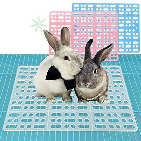Rabbit Mats for Cages Rabbit Guinea Pig Hamster and Other Small Animal Cage Hole Mat Prevent Pet Skin Disease Blue 2 pack
