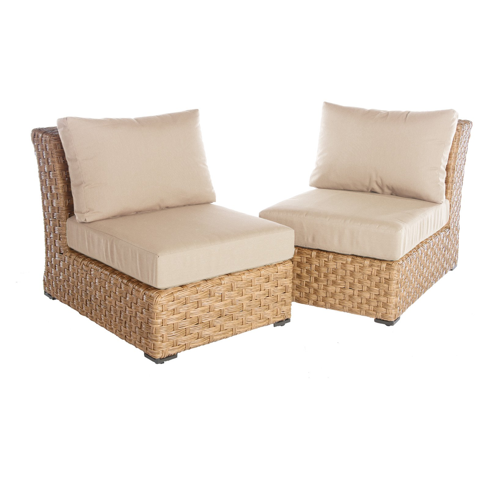 AE Outdoor Elizabeth Armless Chairs with Sunbrella Cushions - Set of 2