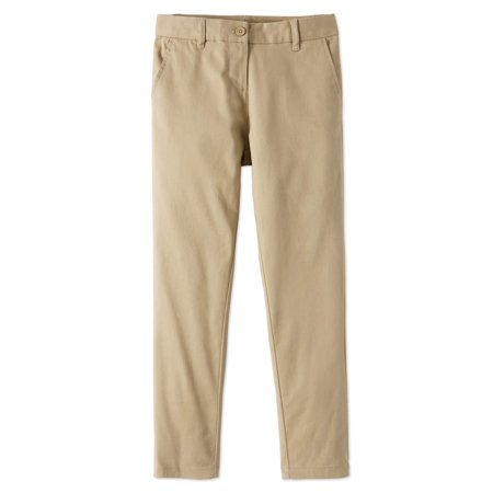 Retro Womens Khakis (Wonder Nation School Uniform Stretch Twill Skinny Pants (Little Girls & Big Girls) )