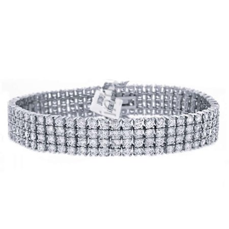 Mens Ladies 14K White Gold Finish Genuine Simulated Diamonds Round Cut 4 Row Tennis Link Chain Bracelet 15mm/8.5 Inches ()