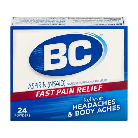 Bc Aspirin Pain Reliever Headaches   Body Aches Powders   24 Ct