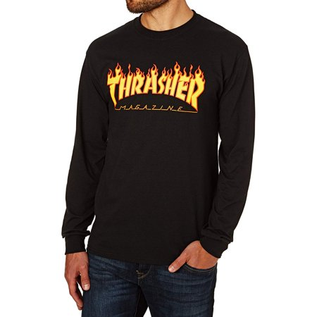 Flame Long Sleeve T-Shirt Small Black, Synthetic By Thrasher](Thrasher Halloween)