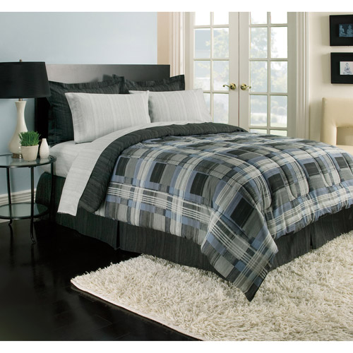 Blue and Gray Plaid Reversible Bed in a Bag