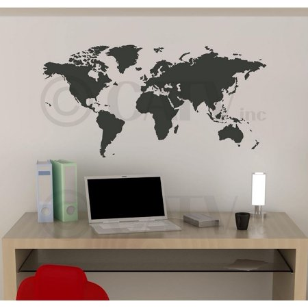 Chalkboard World Map vinyl wall decal (21
