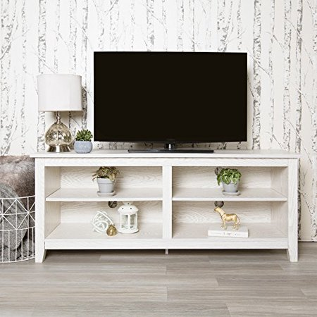 Modhaus Living Modern 58 Inch White Wooden Media Cabinet Tv Stand With 4 Shelves Includes Pen