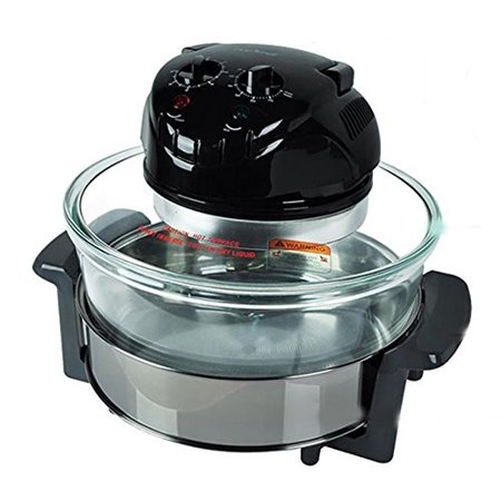 NutriChef Convection Countertop Toaster Oven - Healthy Kitchen Air Fryer Roaster Oven, Bake, Grill, Steam Broil, Roast & Air-Fry - Includes Glass Bowl, Broil Rack and Toasting Rack, 120V -