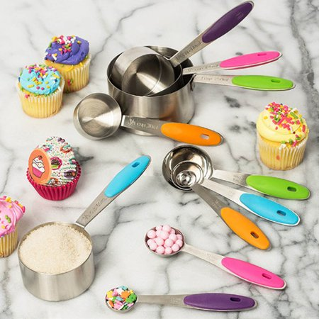 10Pcs Set Stainless Steel Measuring Measure Spoons Scoop Cup Baking Cooking Kitchen Non-stick for $<!---->