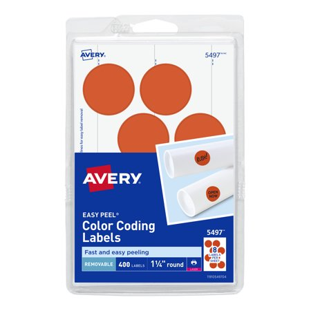 Avery(R) Removable Print or Write Color Coding Labels for Laser Printers, 1-1/4