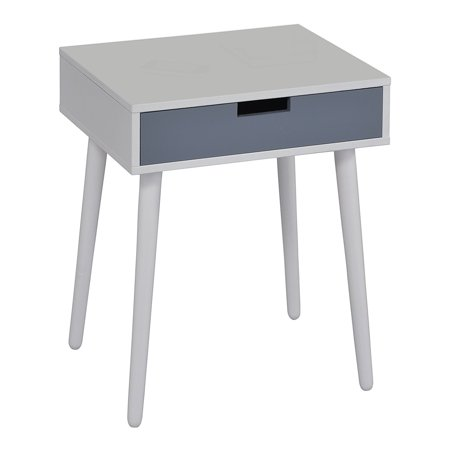 Maddy White & Gray Wood Transitional Occasional Side End Table or Nightstand Bedside Table With 1 Storage Drawer