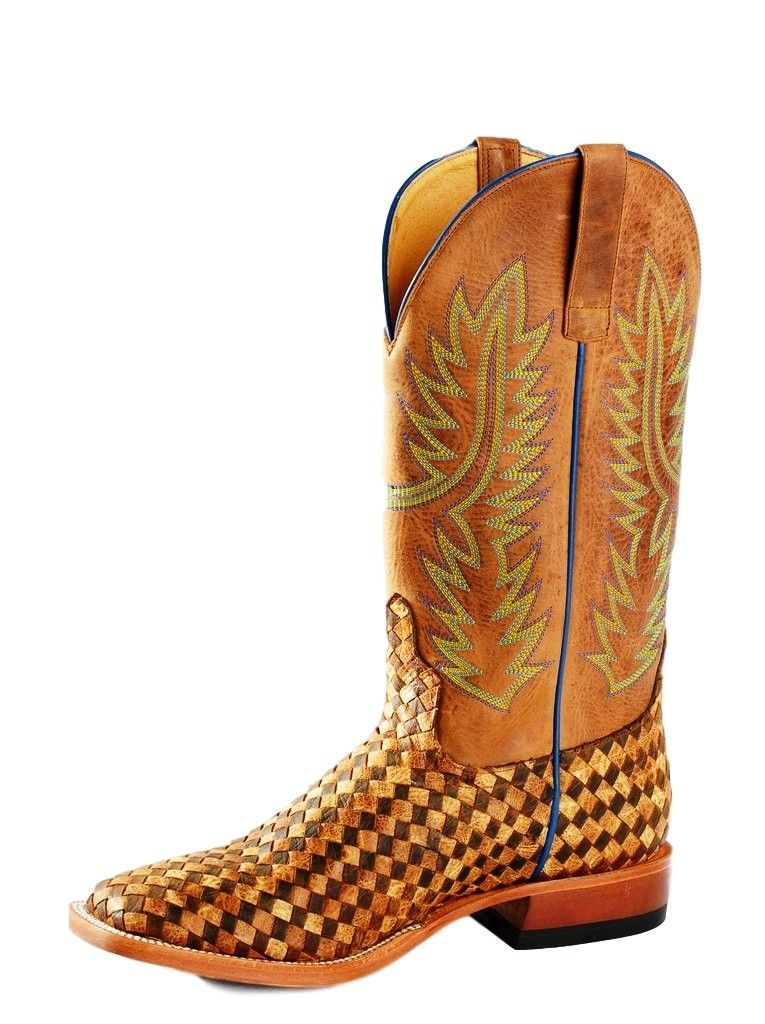 Horse Power Western Boots Mens Weave Roper Square 9 EE Toast HP1758