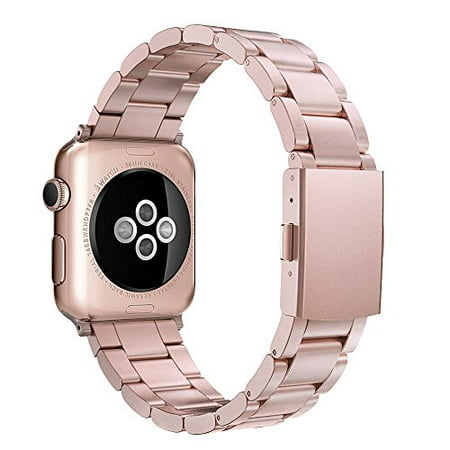 Simpeak Apple Watch Band 42mm, Adjustment Band Strap for Apple Watch 42 mm Series 1 Series 2 Series 3 with Stainless Steel Metal Clasp - Rose Gold for Women Girl Simpeak Apple Watch Band 42mm, Adjustment Band Strap for Apple Watch 42 mm Series 1 Series 2 Series 3 with Stainless Steel Metal Clasp - Rose Gold for Women Girl