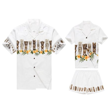 Made in Hawaii Matching Father Son Shirts Cabana Set in Tiki White M-8