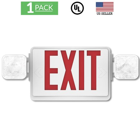 Sunco Lighting 1 Pack Emergency Single / Double Sided EXIT Sign LED Light Fixture With Dual Head Lights Plus Back Up Battery Pack, Commercial, Fire Resistant US Standard Red Letter Light - UL Listed ()