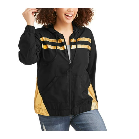 Elite Brands Women's Plus Active Striped Yoke Zip (Womens Hook)