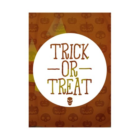 Trick Or Treat Print Candy Corn Pumpkins Skeletons Orange Background Cute Halloween Seasonal Decoration Sign for $<!---->