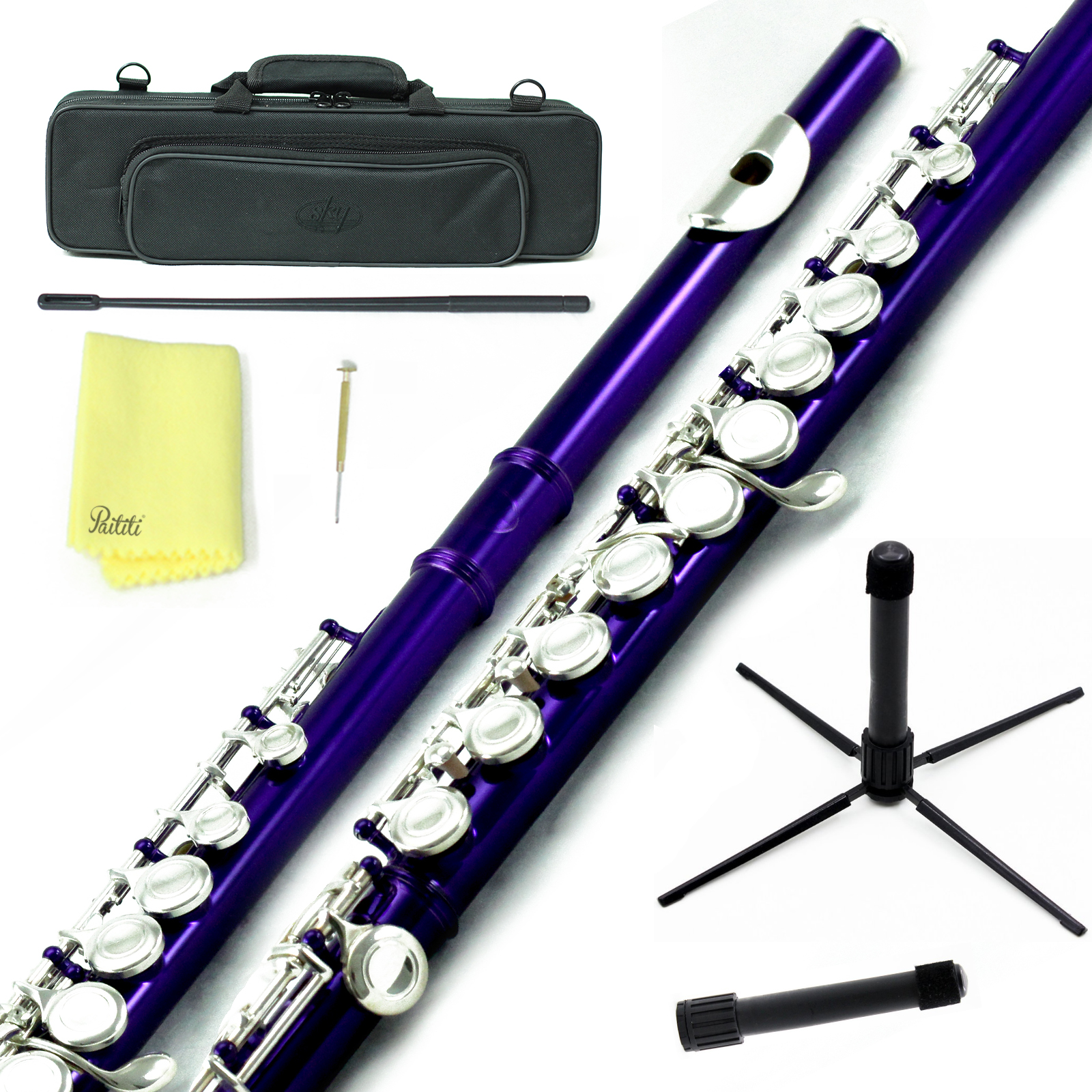 Sky Closed Hole C Flute with Lightweight Case, Cleaning Rod, Cloth, Joint Grease and Screw Driver - Purple Silver