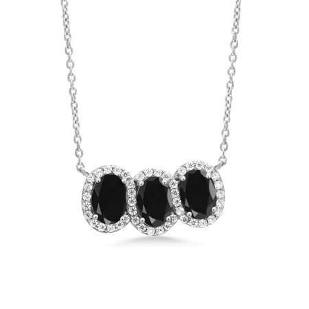 3.66 Ct Oval Black Sapphire 925 Sterling Silver Necklace