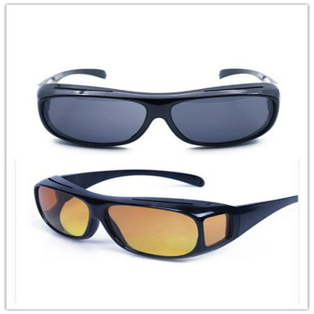 ZEDWELL HD Night Vision Wraparound Sunglasses As Seen on TV Fits over Glasses,2 Pair (As Seen On Tv Aviator Sunglasses)