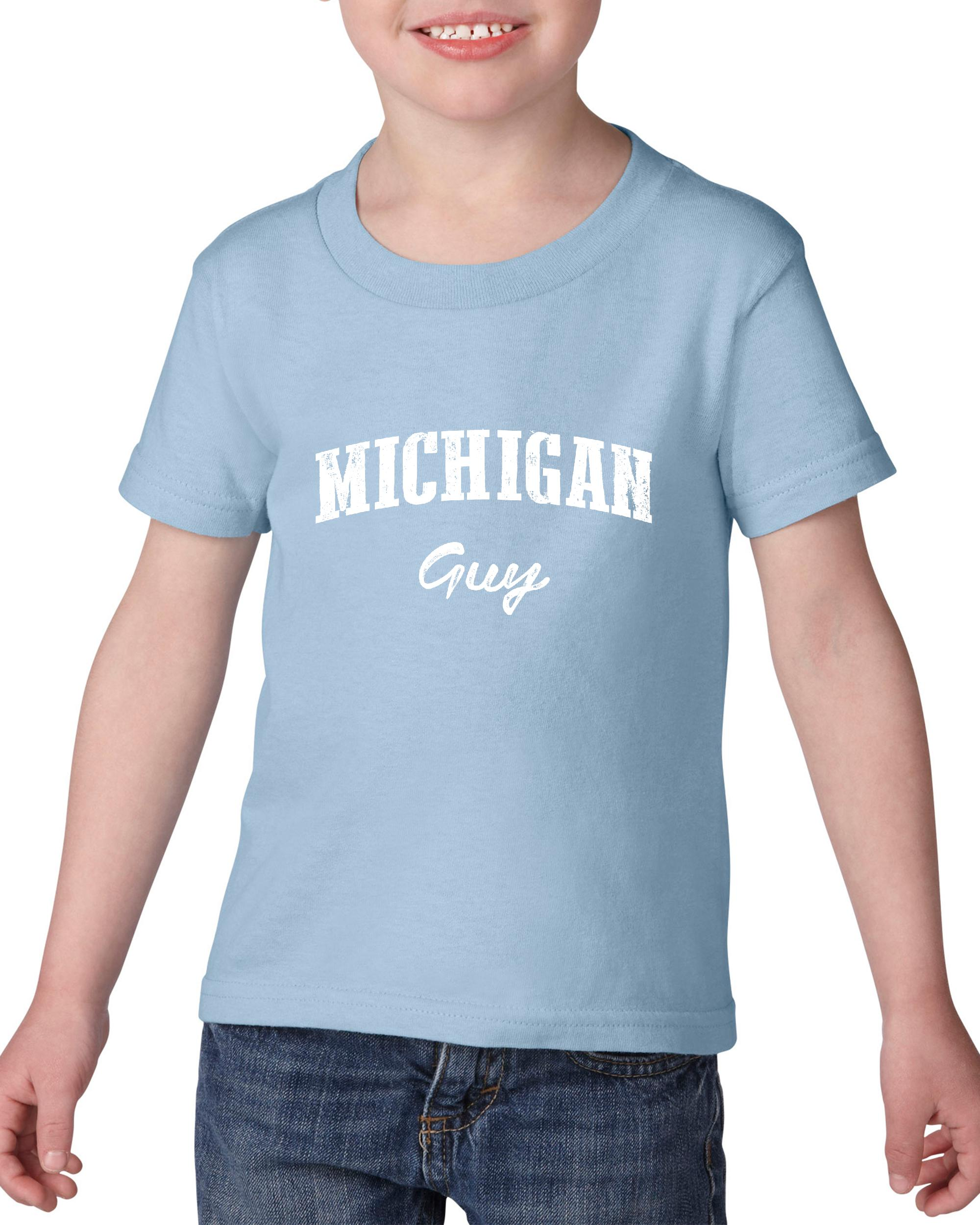 Artix MI Guy Michigan Map Detroit Flag Wolverines Home of University of Michigan Heavy Cotton Toddler Kids T-Shirt Tee Clothing