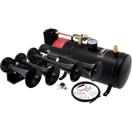 Vixen Horns Train Horn Kit for Trucks/Car/Semi. Complete Onboard System- 150psi Air Compressor, 1 Gallon Tank, 4 Trumpets. Super Loud dB. Fits Vehicles like Pickup/Jeep/RV/SUV 12v VXO8210/4124B Four Function Air Switch