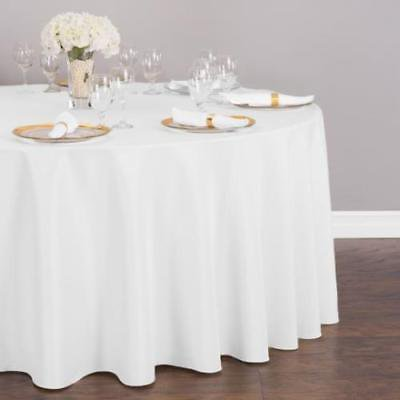 132 In Round Polyester Tablecloth White Walmart Com