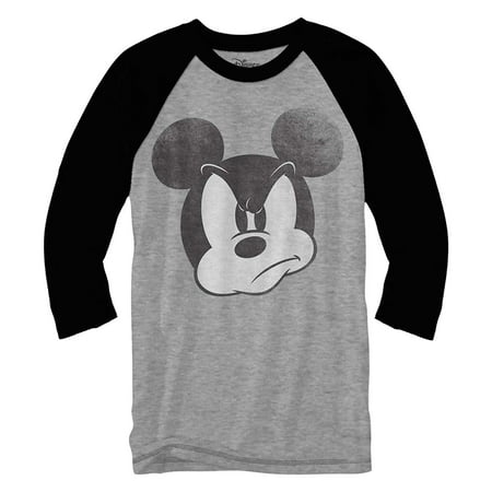 - Mad Mickey Mouse Raglan Style 3/4 Length Sleeve Classic Vintage Disneyland Funny Adult Mens Graphic Shirt