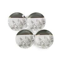 Harry Potter Hogwarts Castle White & Grey Ceramic Plate Collection | Set of 4