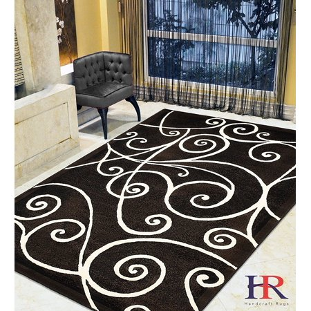 - Modern Contemporary Area Rugs-Abstract Wavy Swirls -Shed Free Black/White/Gray/Ivory