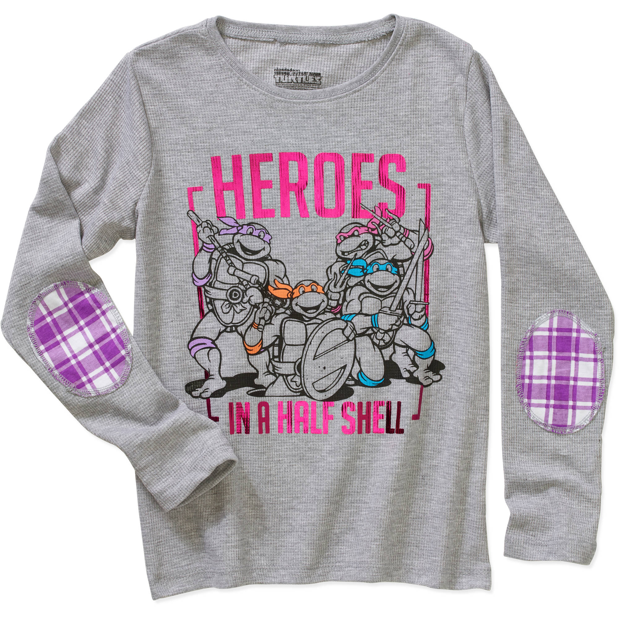 Teenage Mutant Ninja Turtles Heroes In A Half Shell Girls' Long Sleeve Thermal With Elbow Patch